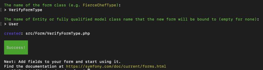 Creating a verify form in Symfony