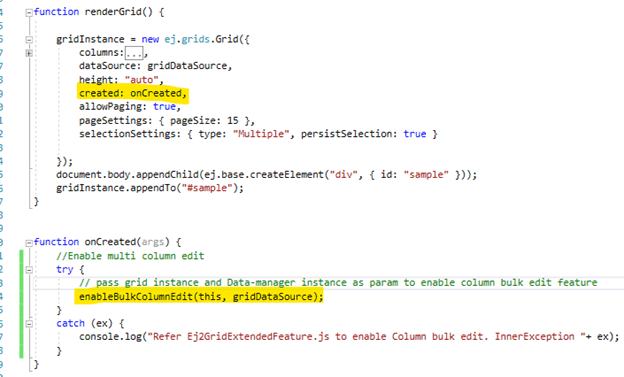 Invoke the enableBulkColumnEdit() method from the created event of the grid to enable the column bulk-edit feature