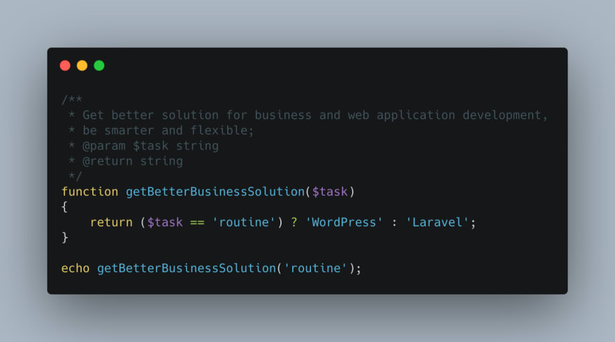 Why, when, and how to develop WordPress with Laravel features, live examples.