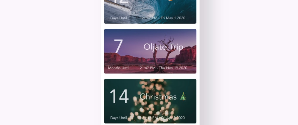 Cover image for Show DEV: I built an Event Countdown app with React Native & Typescript