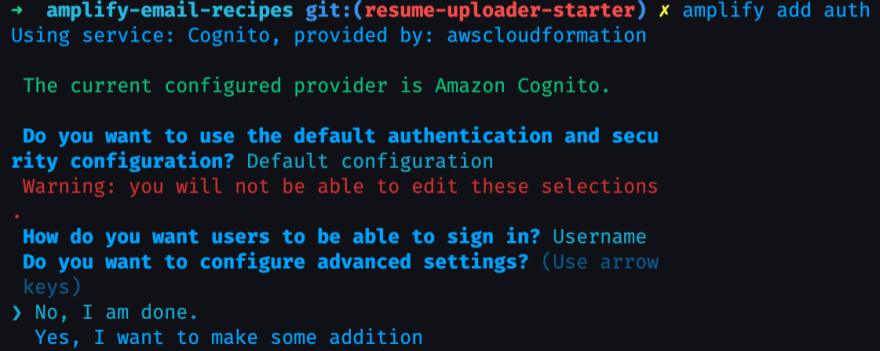 amplify add auth with default configuration