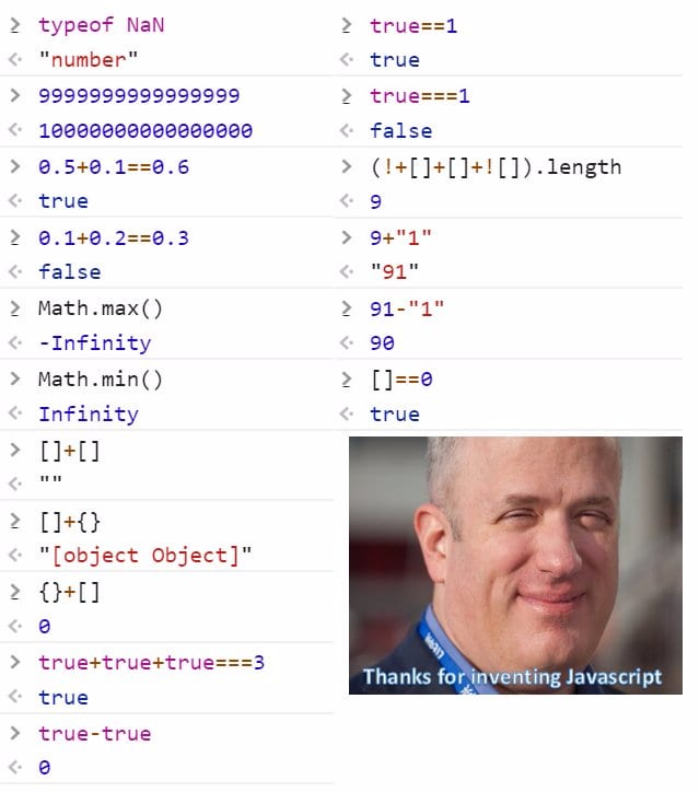 JavaScript quirks in one image from the Internet