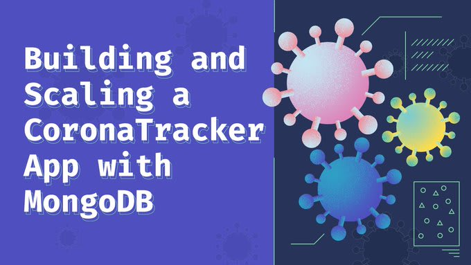 """COVID-19 vectors next to title """"Building and Scaling a CoronaTracker App with MongoDB"""