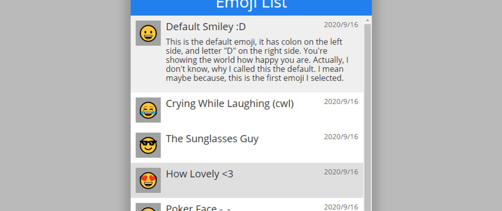 Cover image for #CodepenChallenge 100 List Items! Emoji List with Skeleton