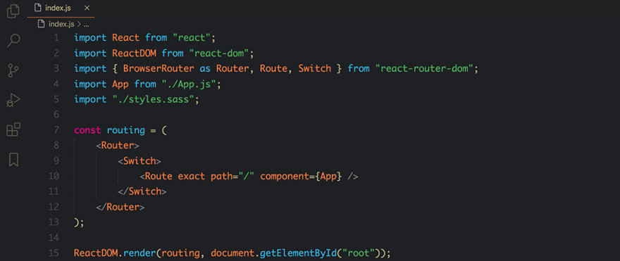 React code snippet with the Bear theme