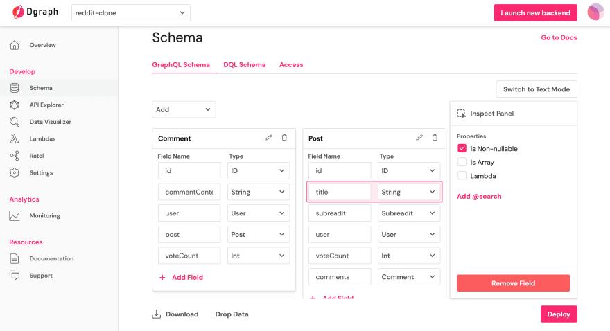 Creating a schema in UI Mode