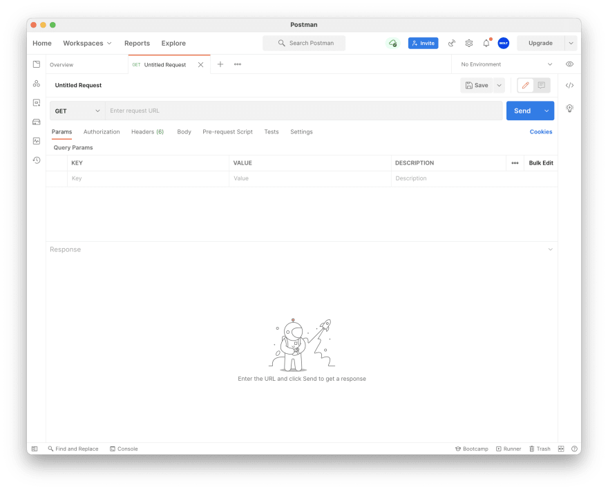 Screen shot of Postman with a new request tab
