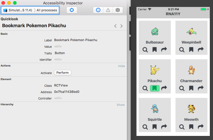 Accessibility Inspector in action