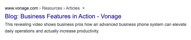 Showing Vonage.com breadcrumbs in a Google result