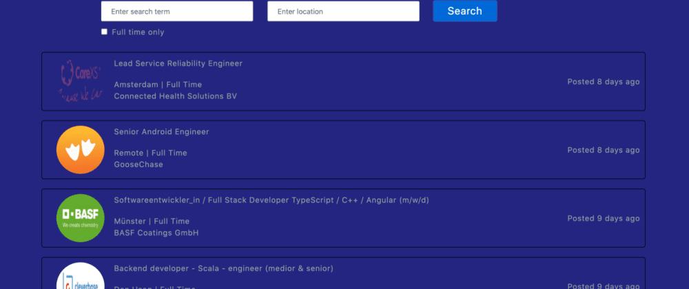 Build an amazing Job Search App using React