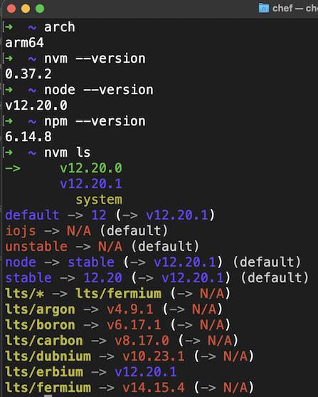 Terminal Tool Versions