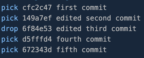 Replaced pick with drop for the third commit in editor