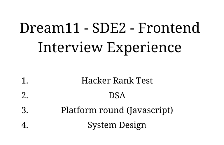 Dream11 - SDE2 - Frontend Interview Experience