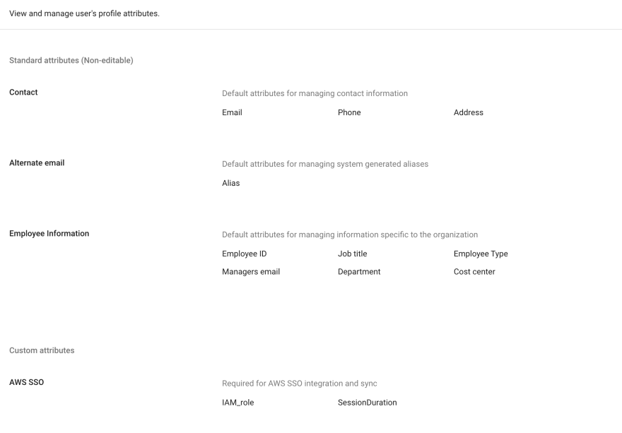 User attributes screen