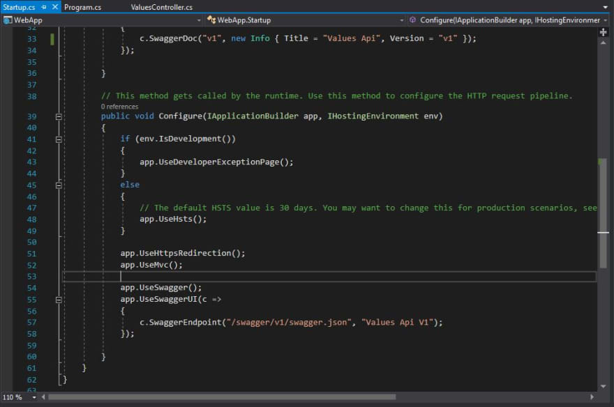 How to quickly install swagger in a  NET Core application