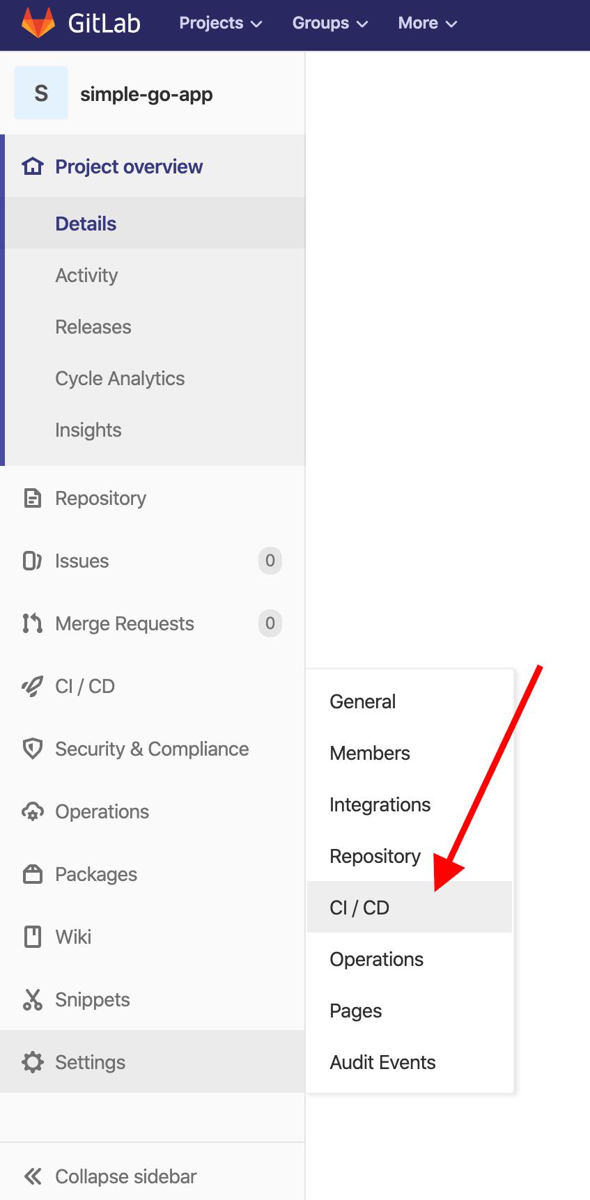 Gitlab CI/CD menu option