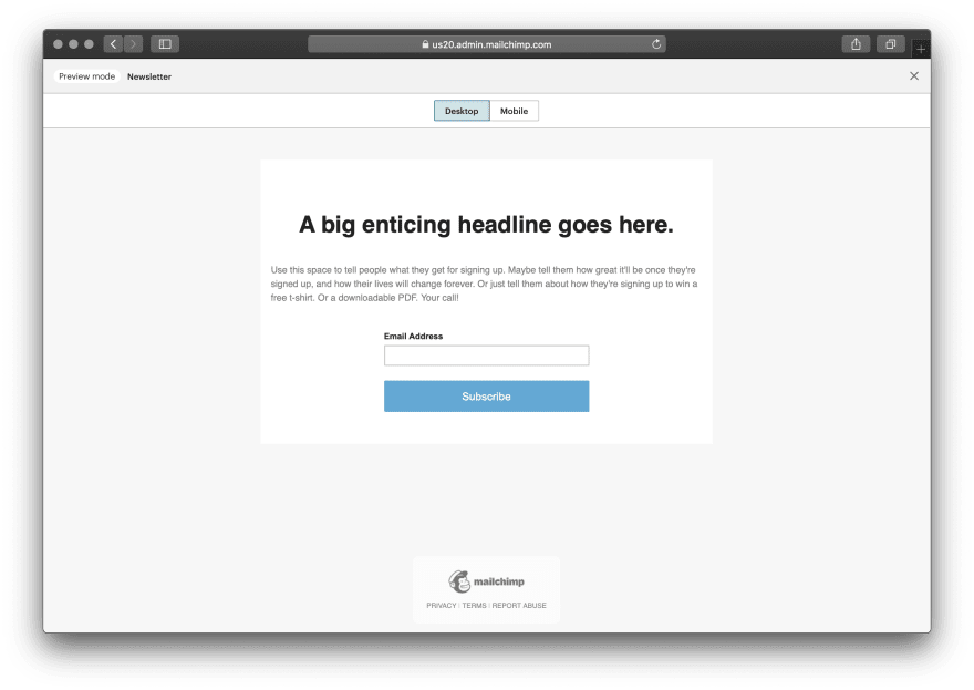 Sample landing page on Mailchimp