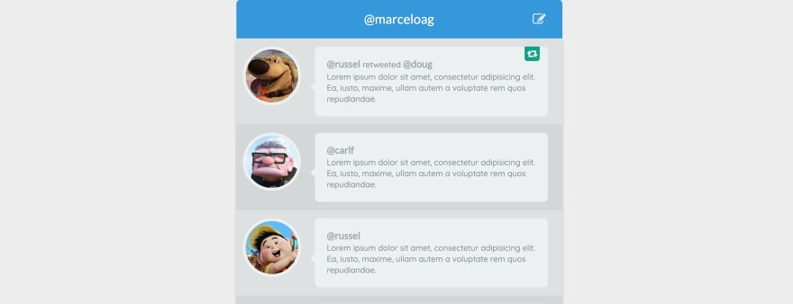 Twitter Client UI in CSS + HTML