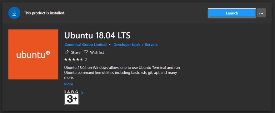 Ubuntu from the Microsoft store