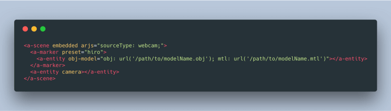 Screenshot of an obj model in AR.js