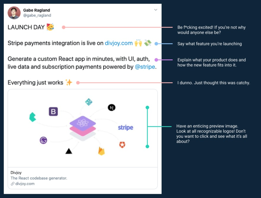 launch tweet with tips