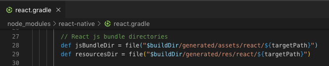 Screenshot of the lines in the react.gradle file where jsBundleDir and resourcesDir are being defined