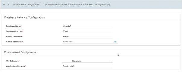 Data Management for Tanzu - Org User - Create Database - Additional Configuration