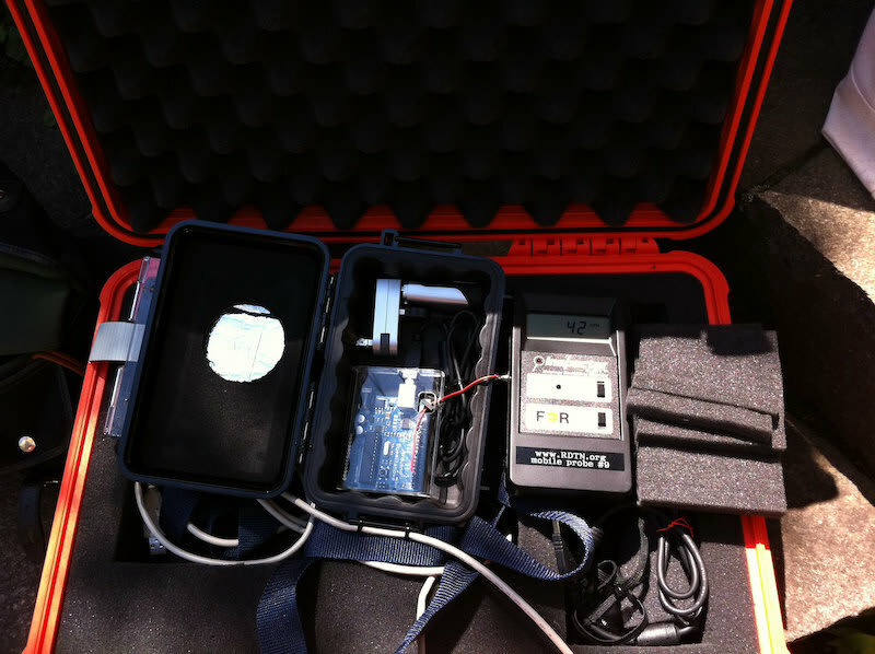 An image of a radiation detection unit in a padded box.