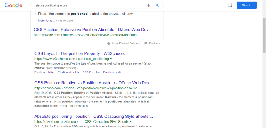 Search Result for CSS positioning on Google.com