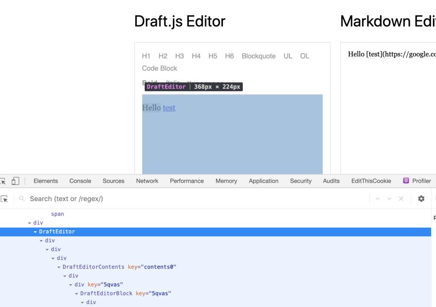 Screenshot of react dev tools