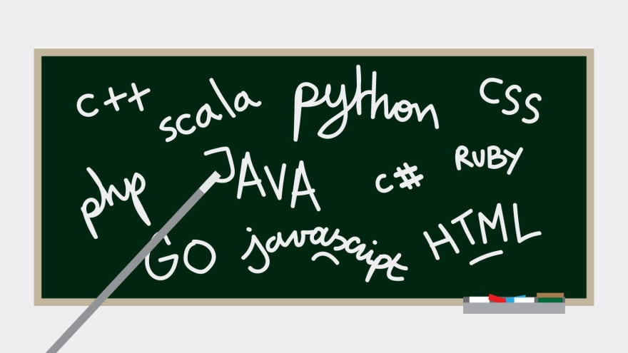 Blackboard with various programming languages written; C++, Scla, JavaScript, GO, PHP, Java, CSS, Ruby C#, HTML, Python