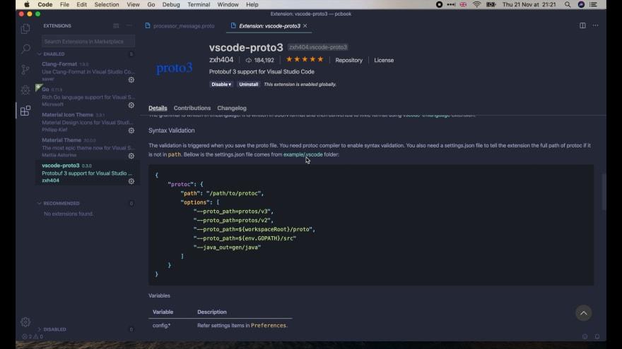 vscode-proto3 settings