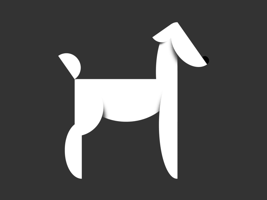 Abstract/Minimalist version of a white dog holding a still position