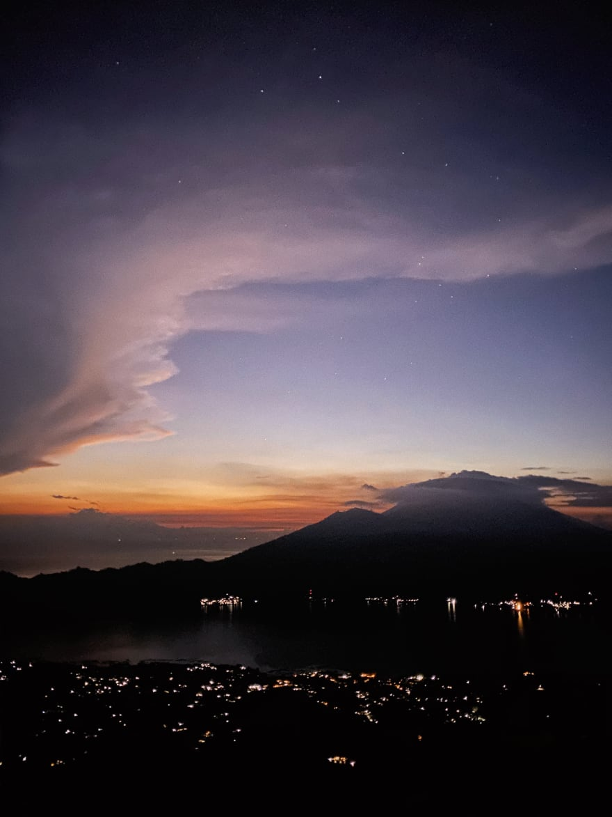 Sunrise from the top of Mount Batur in Bali, Indonesia