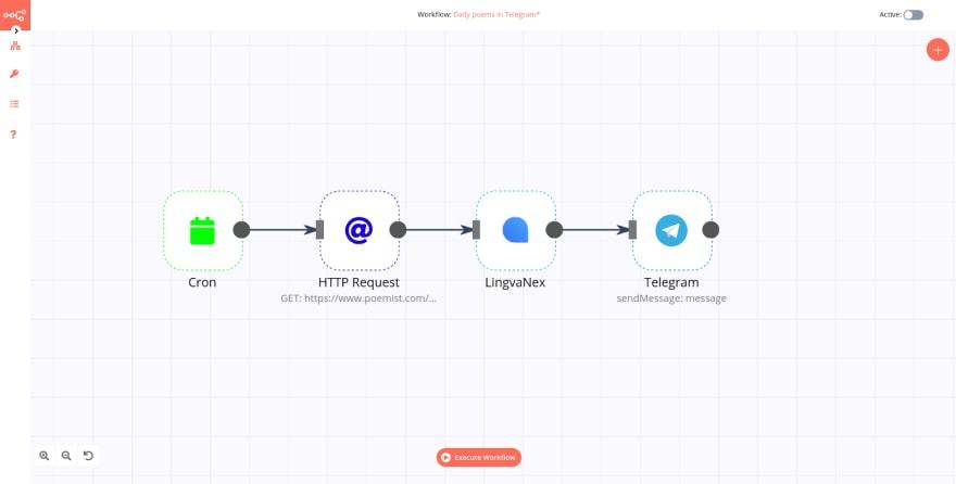 n8n Editor UI showing the workflow