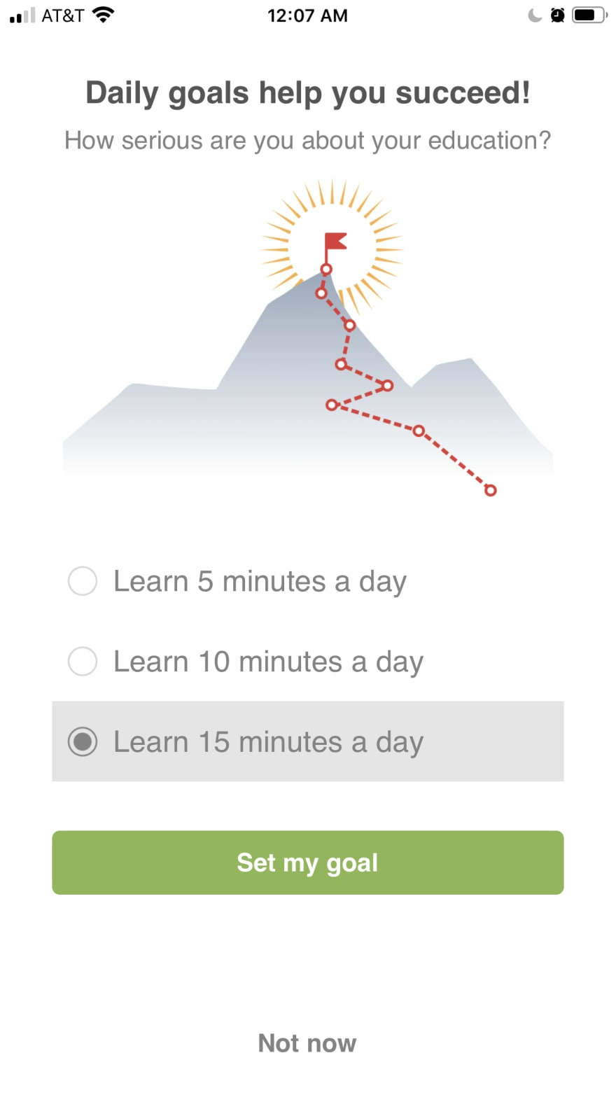 Screenshot of Grasshopper App on a page asking how long you want to learn for.