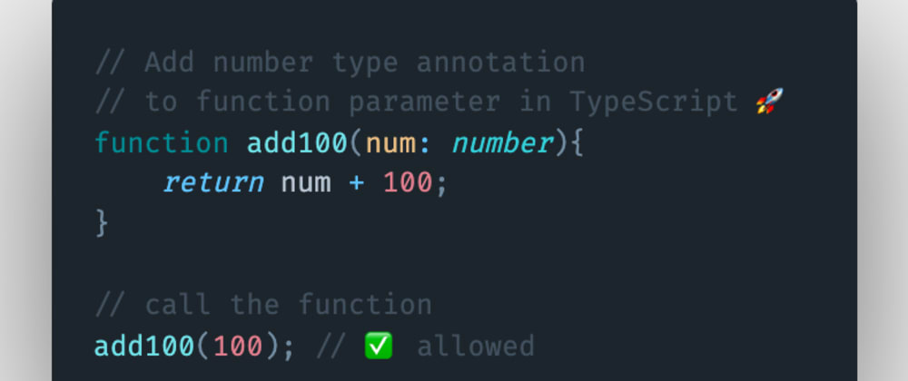 Cover image for How to add a number type annotation to a function parameter in TypeScript?