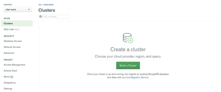 Create Cluster Screen.