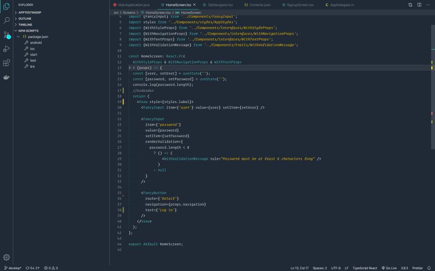 vscode explorer screen with Metzi as theme