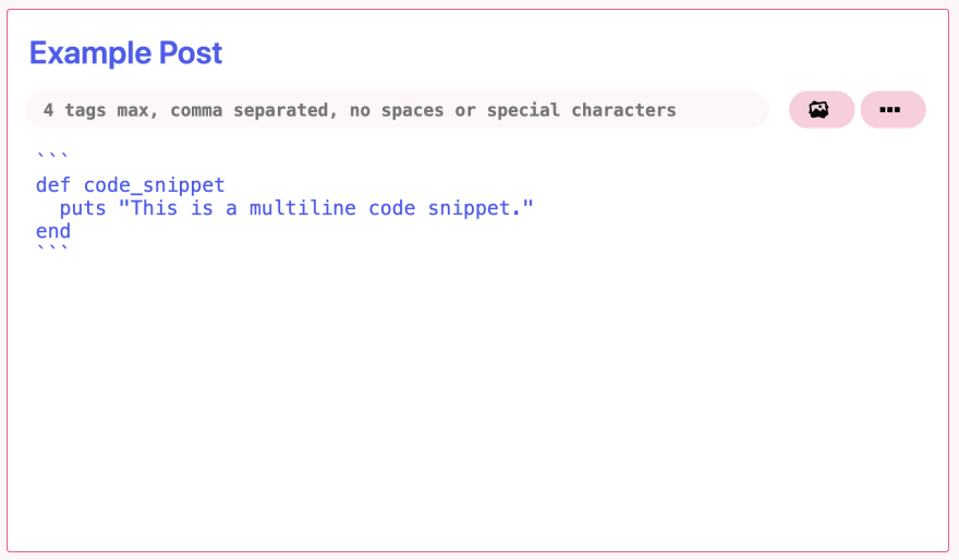 example of using a multiline code snippet displayed within the text editor