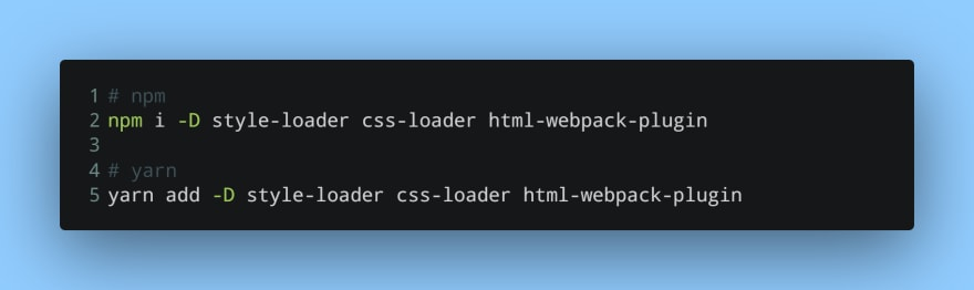 Installing loaders for CSS and a plugin for HTML
