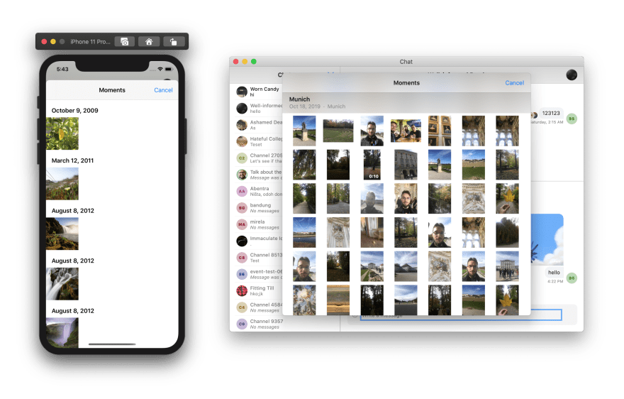 Uploading pictures dialog on iOS and macOS