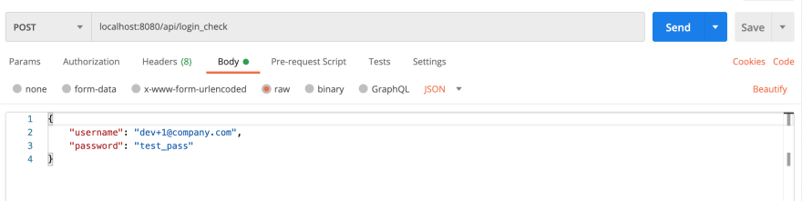 An example of authenticating with Postman