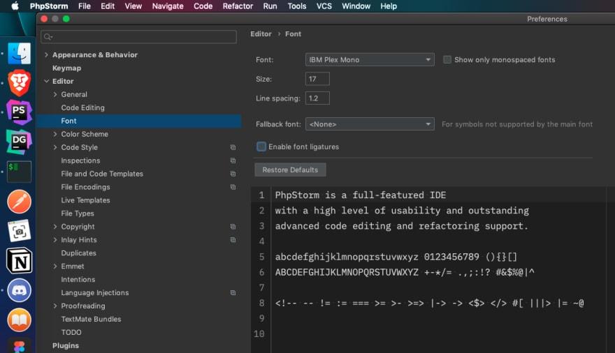 IntelliJ settings: Font section