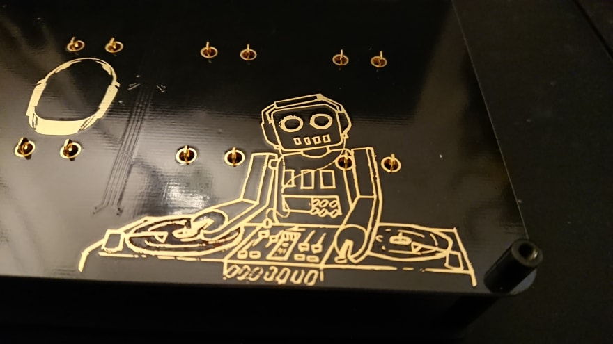 Close up on the PCB art. I chose ENIG finish to really let the artwork shine (literally)
