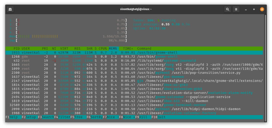 Memory usage with terminal and screenshot appopen
