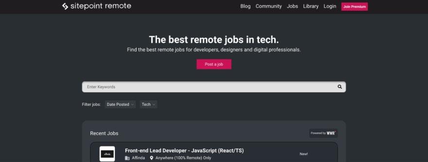 Sitepoint Jobs website