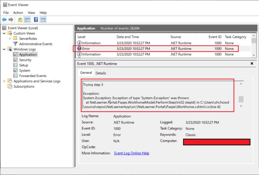 Windows Event Viewer showing error log entry
