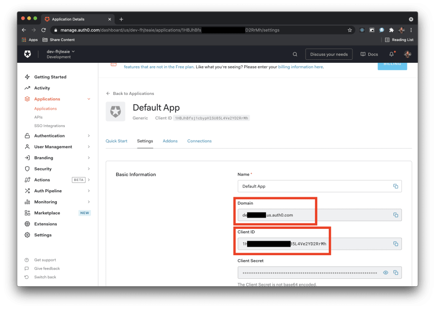 Image shows Domain and Client ID in Auth0 dashboard