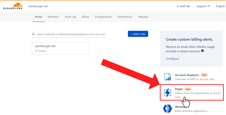 Cloudflare Dashboard where the Cloudflare Pages link is pointed at
